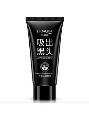 Черная маска с активированным углем от черных точек и прыщей Bioaqua. Цвет: черный