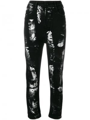 Укороченные джинсы с покрашенным эффектом Barbara I Gongini. Цвет: чёрный