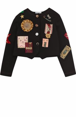 Укороченный жакет с аппликациями Dolce & Gabbana. Цвет: черный