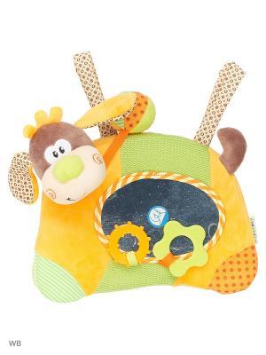 Игровой центр на кроватку  с зеркальцем и прорезывателями Пёсик Том Жирафики. Цвет: оранжевый, бежевый, коричневый, салатовый