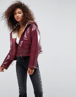 ASOS Куртка-дождевик с подкладкой из искуcственного меха. Цвет: коричневый
