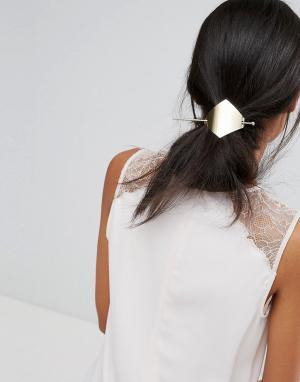 Orelia Заколка-ромб для волос со шпилькой. Цвет: золотой
