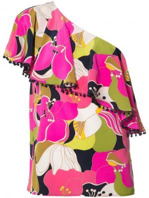 Блузка с цветочным узором Trina Turk. Цвет: розовый и фиолетовый