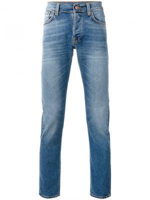 Узкие джинсы с высветленным дизайном Nudie Jeans Co. Цвет: синий