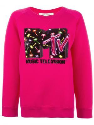 Толстовка MTV x  с блестящей отделкой Marc Jacobs. Цвет: розовый и фиолетовый
