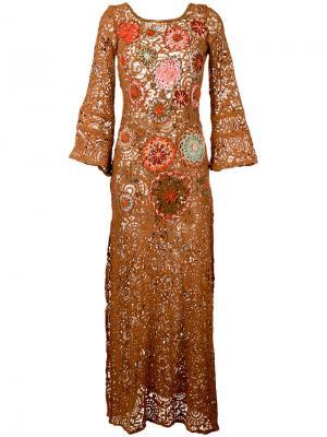 Платье с цветочной вышивкой Anjuna. Цвет: коричневый