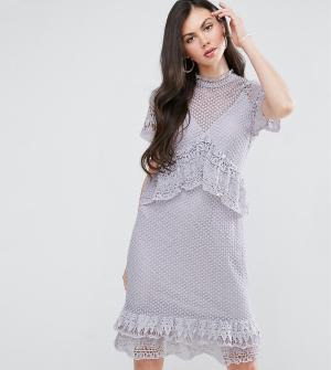Y.A.S Tall Кружевное платье миди с оборками. Цвет: фиолетовый