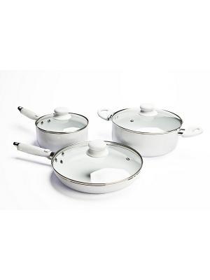 Набор посуды с керамическим покрытием из 6 предметов СЕМЕЙНЫЙ УЖИН BRADEX. Цвет: белый