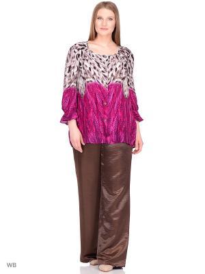 Блузка BERKLINE. Цвет: коричневый, бордовый