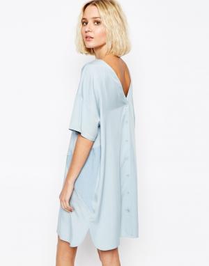 Paisie Двухцветное панельное платье с пуговицами сзади. Цвет: синий