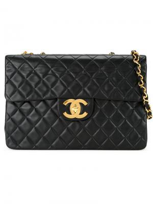 Стеганая сумка на плечо jumbo Chanel Vintage. Цвет: чёрный