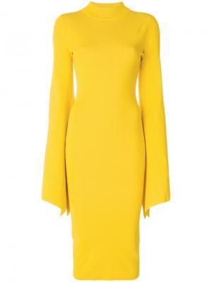 Платье с рукавами клеш Ami Solace. Цвет: жёлтый и оранжевый