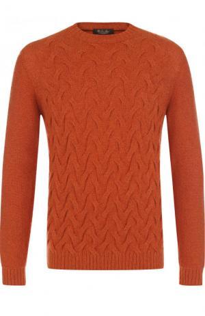 Кашемировый свитер фактурной вязки Loro Piana. Цвет: оранжевый