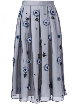 Декорированная  юбка с плиссировкой Holly Fulton. Цвет: серый