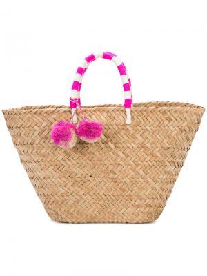 Пляжная плетеная сумка с помпоном Kayu. Цвет: коричневый