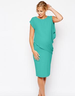 ASOS Maternity Облегающее платье с драпировкой для беременных. Цвет: зеленый