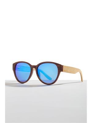 Бамбуковые очки Фиджи Nothing but Love. Цвет: коричневый, голубой, светло-желтый