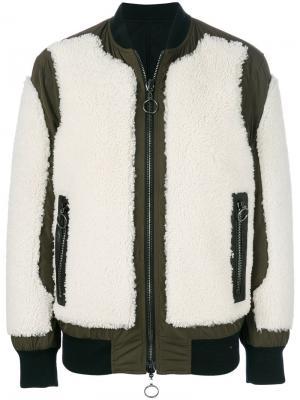 Куртка-бомбер с панелями из овчины Drome. Цвет: чёрный