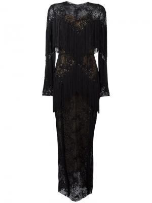 Длинное платье с бахромой Zuhair Murad. Цвет: чёрный