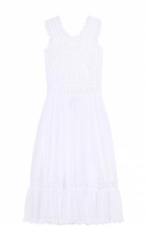 Кружевное платье свободного кроя без рукавов Valentino. Цвет: белый