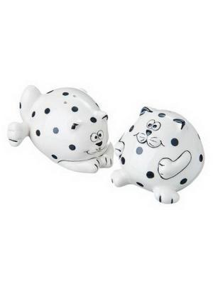 Милый котик Набор для соли и перца, 9x6,8x6 см, керамика Vetta. Цвет: бежевый
