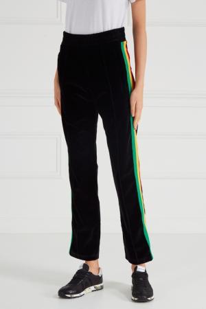 Бархатные брюки с лампасами Palm Angels. Цвет: черный