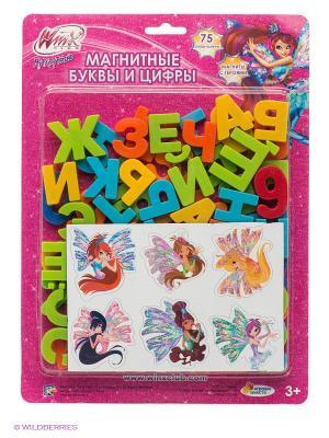 Магнитные буквы и цифры Играем вместе Winx. Цвет: фуксия, желтый, оранжевый, салатовый