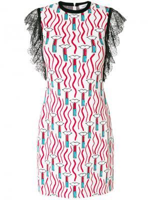 Платье с принтом губной помады Valentino. Цвет: белый