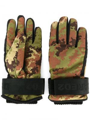 Камуфляжные перчатки Dsquared2. Цвет: зелёный