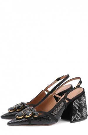 Туфли из кожи питона с кристаллами Marni. Цвет: черный