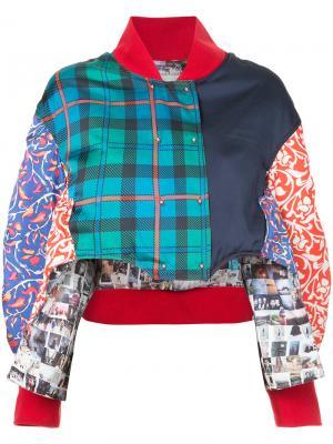 Укороченная куртка-бомбер со вставками Esteban Cortazar. Цвет: зелёный