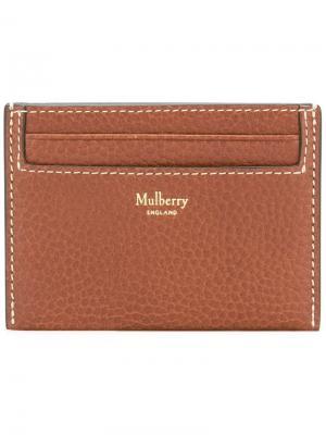 Кошелек для карт с логотипом Mulberry. Цвет: коричневый