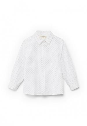 Рубашка Mango Kids. Цвет: белый