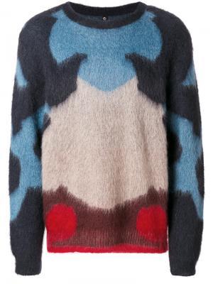 Трикотажный свитер дизайна колор-блок Oamc. Цвет: синий