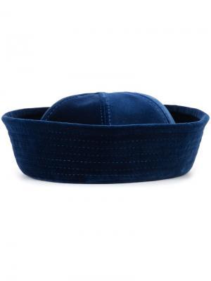 Бархатная шляпа с панельным дизайном Valas. Цвет: синий