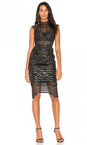 Платье-миди с декором heloise SAYLOR. Цвет: черный