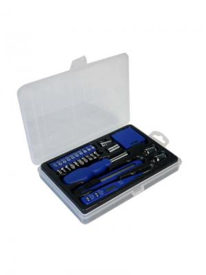 Набор инструментов из 19 предметов в пластиковом кейсе Stinger. Цвет: синий, серебристый