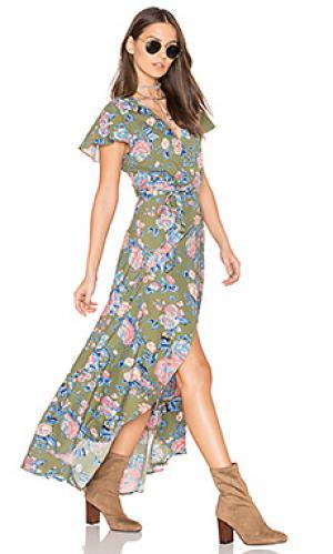 Макси платье festival muse AUGUSTE. Цвет: зеленый