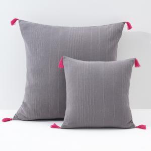 Чехол для подушки или наволочка однотонного цвета с помпонами, RIAD La Redoute Interieurs. Цвет: белый/ черный,сине-зеленый/желтый