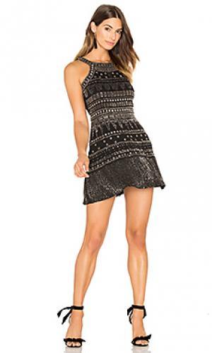 Мини платье с отделкой бисером gabe Karina Grimaldi. Цвет: черный