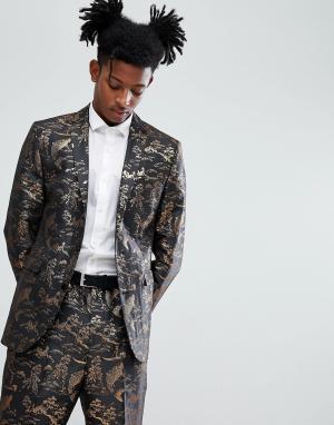 ASOS Облегающий пиджак с отделкой золотистой металлической нитью. Цвет: черный