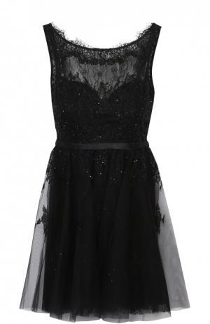 Приталенное кружевное мини-платье с открытой спиной Basix Black Label. Цвет: черный