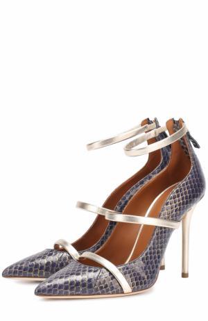 Кожаные туфли с тиснением на шпильке Malone Souliers. Цвет: темно-синий