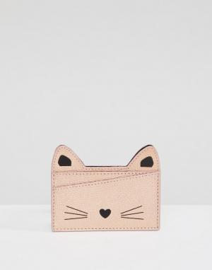 Monki Розовая визитница в форме кота. Цвет: черный