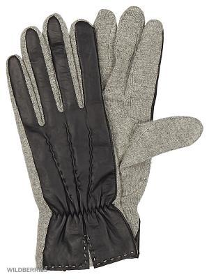 Перчатки женские Marco Bonne`. Цвет: черный, серый