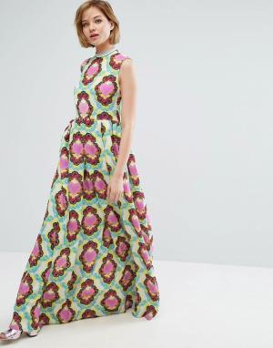 House of Holland Креповое платье макси. Цвет: белый