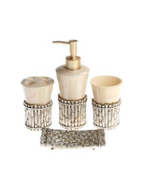 Набор для ванны 4 предмета: дозатор, подставка зубных щеток, стакан, мыльница PATRICIA. Цвет: светло-бежевый