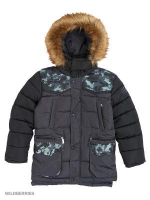 Куртка для мальчика Камуфляж Пралеска. Цвет: темно-серый