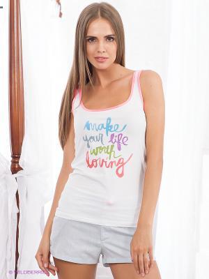 Пижама HAYS. Цвет: светло-серый, белый