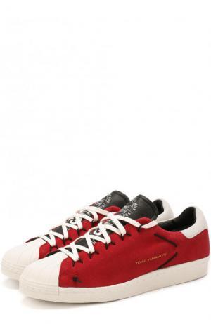 Замшевые кеды на шнуровке Y-3. Цвет: красный